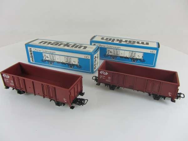 Märklin 4639 offene Güterwagen der NS (2 Stück) sehr gut mit Originalverp.