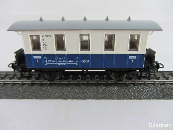 Basis 4107 Personenwagen 1. Kl. weis blau GPB Museums Schänke neu ohne OVP