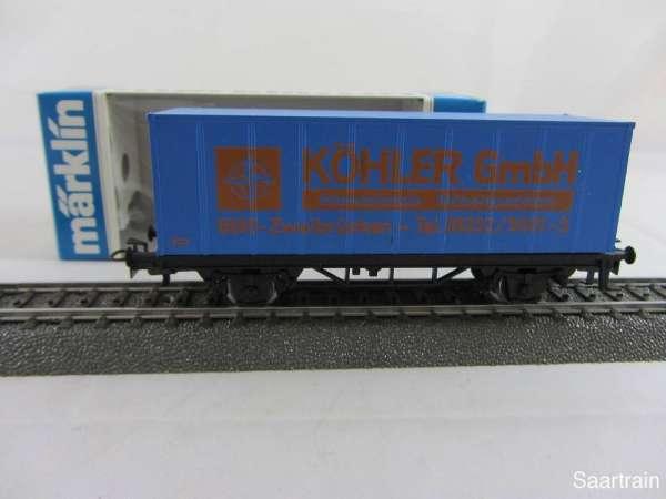 Märklin Basis 4481 Containerwagen Spedition Köhler Zweibrücken mit OVP