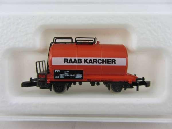 Märklin 8612 Kesselwagen 2-achsig Raab Karcher rot schwarzes Schild selten !!