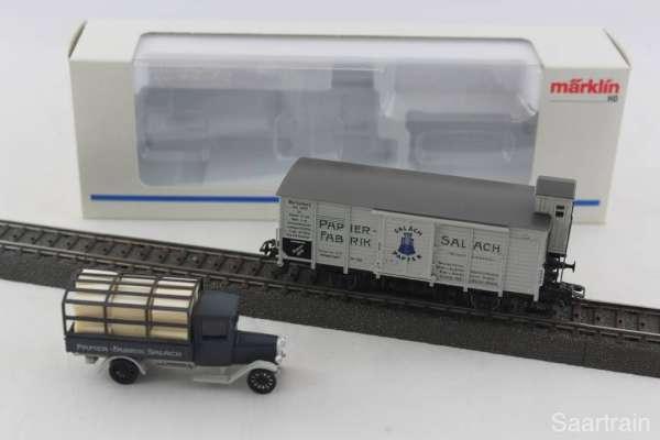 Märklin Museumswagen 1996 Papierfabrik Salach, mit LKW und Originalverpackung