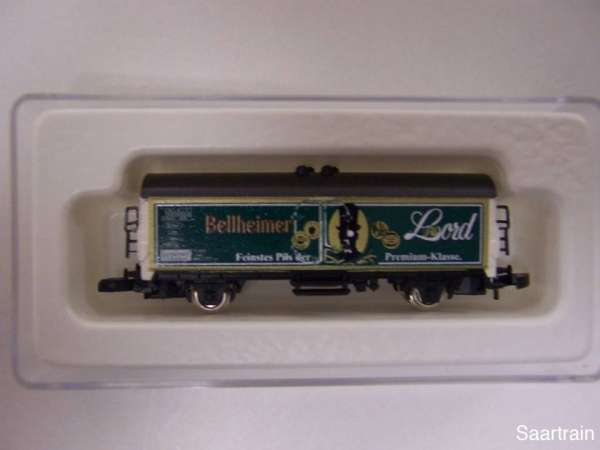 8600 Bierwagen Sondermodell Bellheimer Lord dunkelgrüne Wagenseite mit OVP