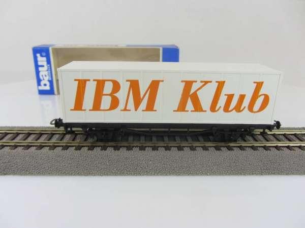 Baur HO Containerwagen Sonderwagen IBM Klub weiss mit Verpackung