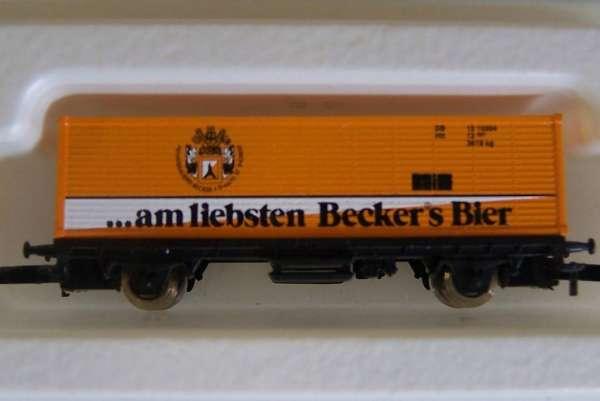 8615 Bierwagen Container Sondermodell Becker Bier gelb mit Originalverpackung