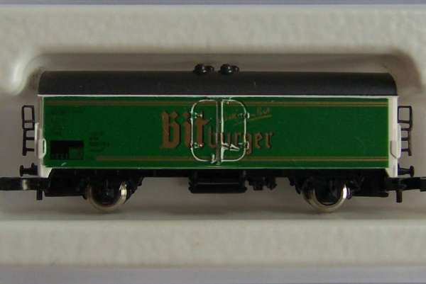 8600 Bierwagen Sondermodell Bitburger grüne Wagenseite mit Originalverpackung
