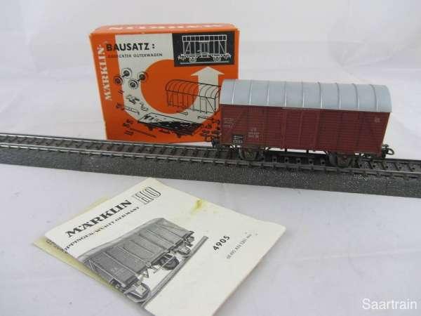 Märklin 4905 Gedeckter Güterwagen der DB braun gebraucht Bausatzwagen mit OVP
