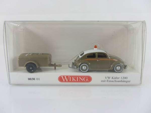 Wiking 30014 HO 1:87 VW Käfer 1200 mit 1achs Hänger, neu und mit OVP
