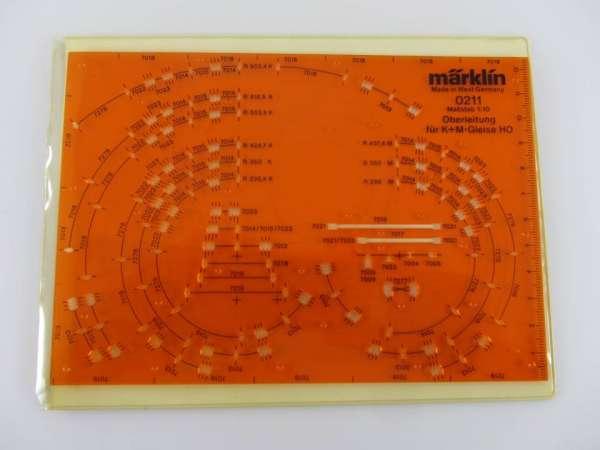 Märklin 0211 Gleisplanungs-Schablone für Oberleitung, K+M-Gleis