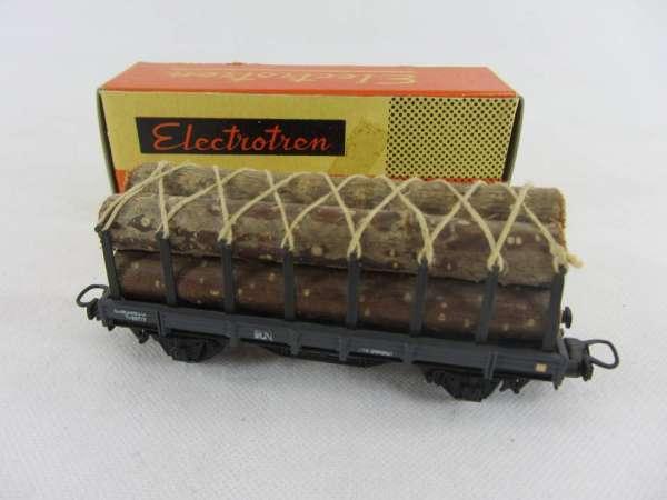 Electrotren Flachwagen mit Langholz beladen, sehr alt mit Originalverp.
