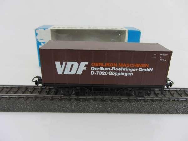 Märklin 4455 Containerwagen VDF Oerlikon braun neuwertig mit Originalverpackung
