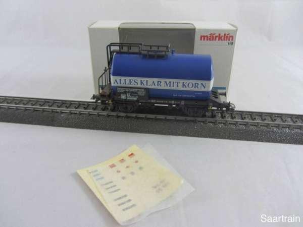 Märklin 4642 Kesselwagen ALLES KLAR MIT KORN der DB in blau gebraucht mit OVP