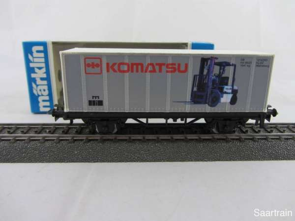 Märklin Basis 4481 Containerwagen Komatsu Gabelstapler neuwertig und mit OVP