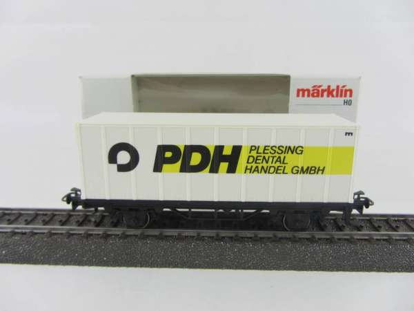 Märklin Basis 4481 Containerwagen Plessing Dentalhandel mit OVP