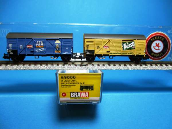 Brawa 69000 DB Set 2 ged.Güterwagen ATA-Persil,Messem., EP III,OVP,neuw.,M1:160