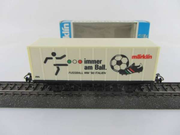 Märklin Basis 4481 Containerwagen Fussball WM 1990 Italien neuwertig und mit OVP