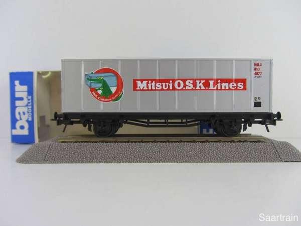 Baur HO Containerwagen Mitsui O.S.K. Lines silbern Neu mit Originalverpackung