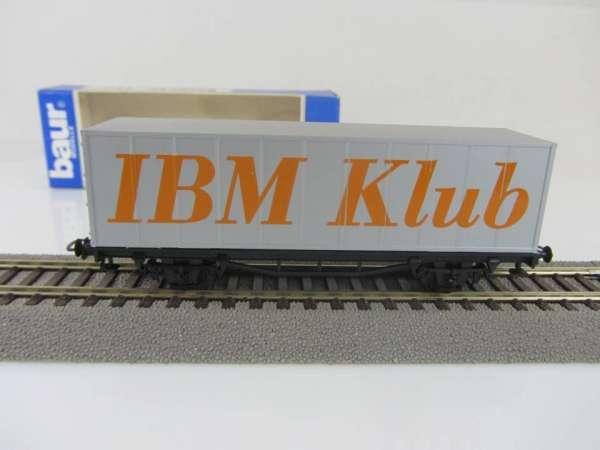 Baur HO Containerwagen Sonderwagen IBM Klub silbern mit Verpackung