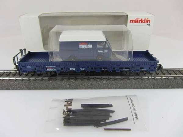 Märklin Magazin Wagen 1993 Rungenwagen mit Wiking Auto 84694 Neuwertig mit OVP