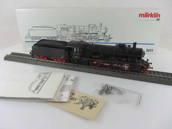 Märklin 3411 Dampflok Br 18 128 der DB in schwarz mit Originalverpackung