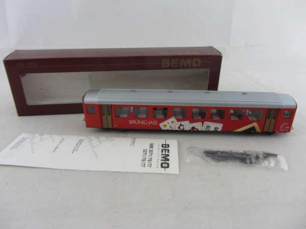 Bemo 3271 456 Personenwagen BRÜNIG-JASS, 2. Klasse der SBB rot, Neu-Zustand mit OVP
