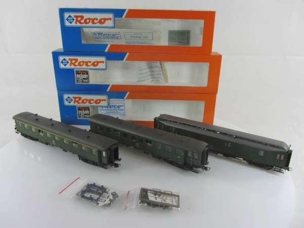 ROCO 44454, 44550 +54 Eilzugwagen-Set der DB, grün, guter Zustand mit Verpackung