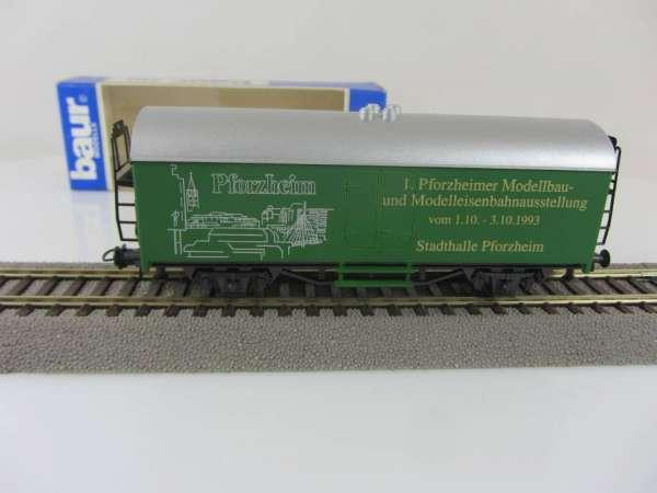 Baur HO Kühlwagen Sonderwagen 1. Pforzheimer Modellbahn-Ausstellung grün mit Verpackung
