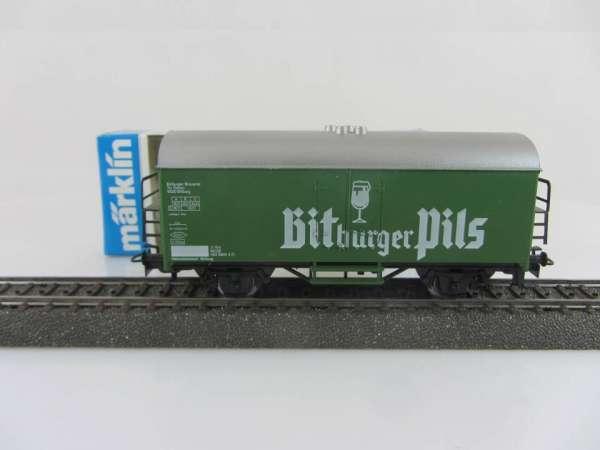 Märklin 4421 Bierwagen Bitburger Pils grün, sehr gut und mit Verpackung