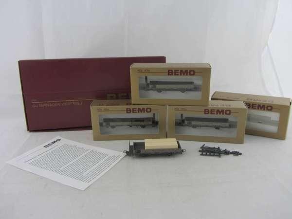 Bemo 7463 100 Güterwagen-Set Niederbordwagen, 4 Wagen, im Neu-Zustand mit OVP
