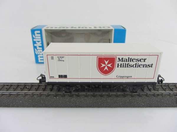 Märklin Basis 4481 Containerwagen Malteser Göppingen neuwertig und mit OVP