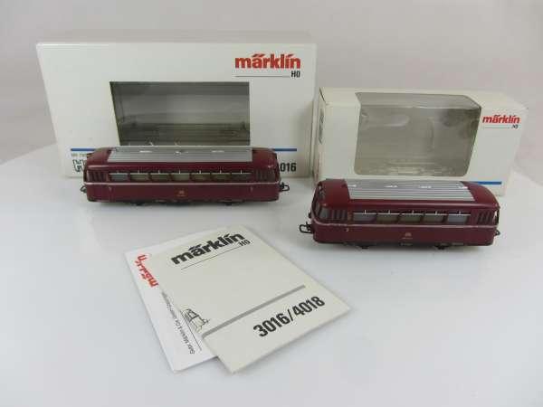 Märklin 3016 + 4018 Schienenbus der DB in rot 2-teilig mit OVP, für Bastler