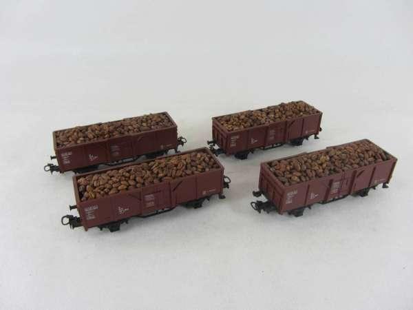 Märklin 4430 offener Güterwagen der DB braun (4 Stück) gebraucht, mit Ladung