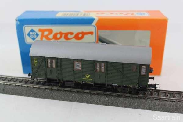 ROCO 44255 Postwagen der DEUTSCHEN BUNDESPOST grün, 3-Leiter-Achsen, sehr guter Zustand mit OVP