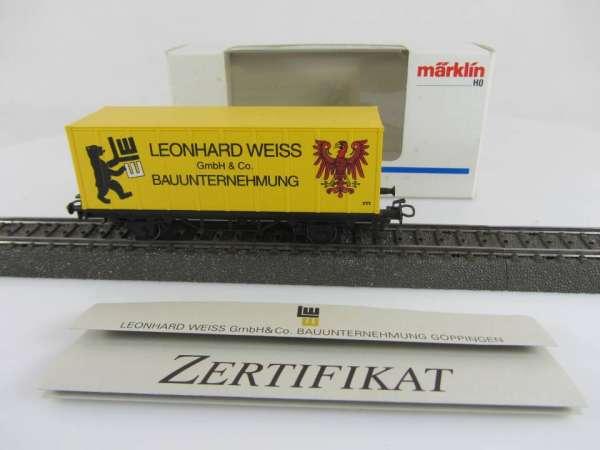 Märklin Basis 4481 Containerwagen Leonhard Weiss mit Zertifikat und OVP