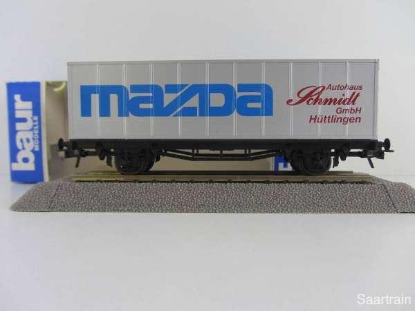 Baur HO Containerwagen Mazda Schmidt Huttingen Neu mit Originalverpackung