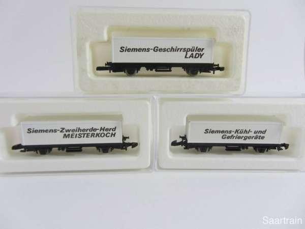 Märklin 8615 Containerwagen 3 verschiedene Siemens Werbewagen mit Box