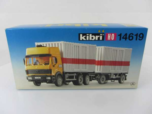 KIBRI 14619 1:87 MB-Containerzug mit Hänger, neuwertig und mit Verpackung