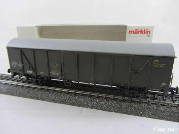 Märklin Postmuseumswagen 1992 grüner ged. Güterwagen gealtert neuwertig mit OVP