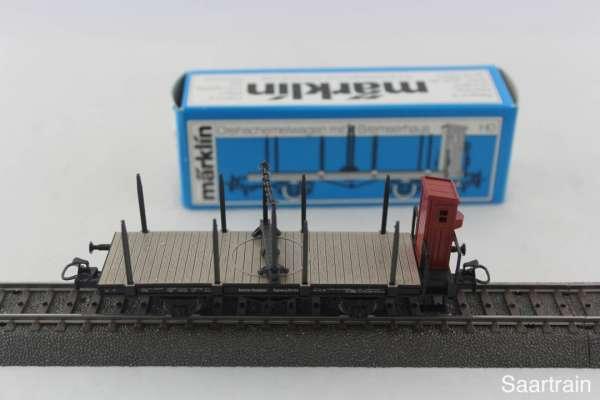 Märklin 4697 Drehschemelwagen mit Rungen, neuwertig mit OVP
