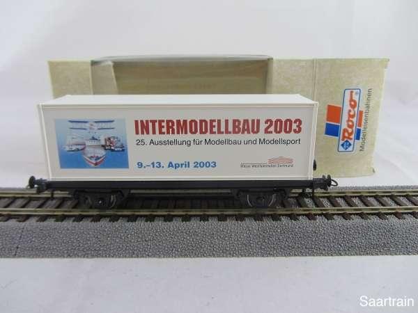 Basis ROCO Containerwagen mit Beschriftung Intermodellbau 2003 m. Verpackung