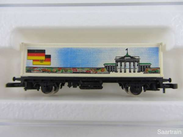 Märklin 8615 Containerwagen Brandenburger Tor von der Sonne verblasst mit Box