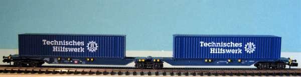 """Hobbytrain DB AG Containertragwagen mit 2 x 40"""" THW mit Kulisse,Neu,OVP,M 1:160"""