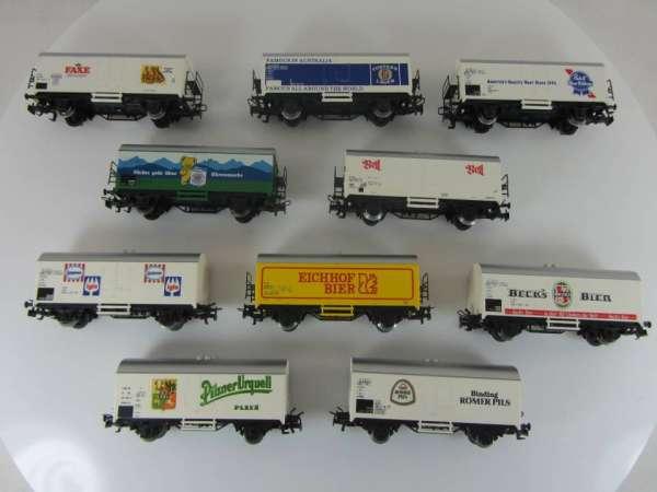 Märklin Basis 4415 Bierwagen-Konvolut, Kühlwagen (10 Stück) verschiedene, gebraucht ohne OVP
