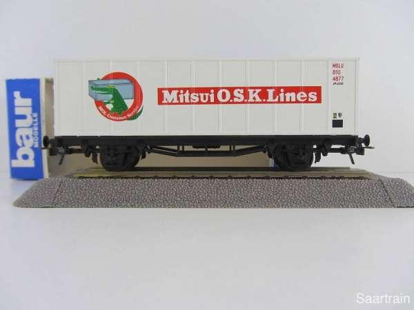 Baur HO Containerwagen Mitsui O.S.K. Lines weiss Neu mit Originalverpackung