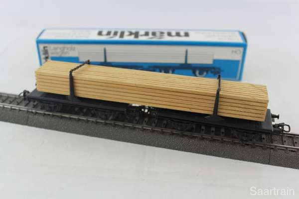 Märklin 4665 Langholzwagen Drehschemelwagen mit Holzladung mit OVP